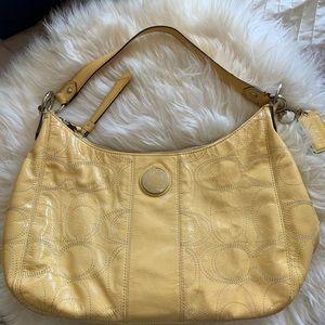 Coach yellow patent signature hobo shoulder bag